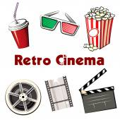 Set of colored Retro Cinema icons — Vector de stock