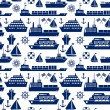 Постер, плакат: Ships and boats marine seamless background