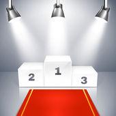 Empty winners podium with spotlights — Stock Vector