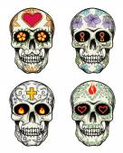 Skulls with flowers — Stock Vector