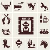 Wild West wanted poster and associated icons — Stock Vector