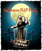 Zombie party halloween poster — Stock Vector