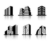 Set of black and white building icons — Stock Vector