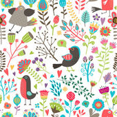 Hand-drawn birds and flowers seamless pattern — Stock Vector