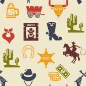 Occidental y rodeo el patrón de fondo transparente — Vector de stock