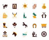 Large set of Western flat vector icons — Vecteur