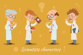 Set of four vector scientist characters — Stock Vector