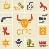 Assortment of Wild West Icons — Stock Vector