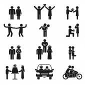 Relationship and wedding people icon set — Stock Vector