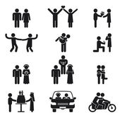 Relationship and wedding people icon set — Stockvektor