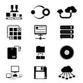 Storage and Data Transfer Icons on White — Stock Vector