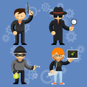 Vector characters involved in criminal activities — Stock Vector