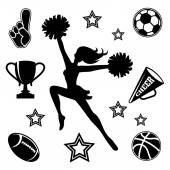 Young cheerleader with associated icons — Stock Vector