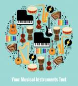 Assorted Musical Instruments Design with Text Area — Stock Vector
