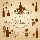 Elementi di disegno del vino dell'annata per il menu — Vettoriale Stock