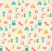 Hairstyling fashion and makeup seamless pattern — ストックベクタ