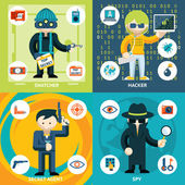 Vector Espionage and Criminal Activity Graphics — Stock Vector