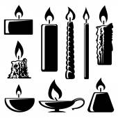 Black and white silhouette burning candles — Stok Vektör