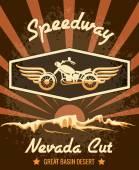 Retro Speedway Nevada Cut Graphic Design — Stock Vector
