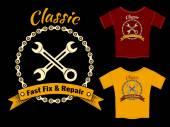Vector Fix and Repair T-Shirt Template Design — Stock Vector