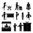 Set of shoppers and shopping icons — Stock Vector #57130951