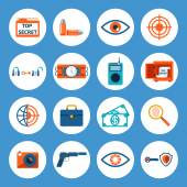 Spy Accessories and Gadget Icons — Stock Vector