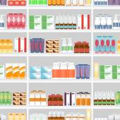 Various Pills and Drugs on Shelves — Stock Vector