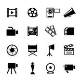Simple Black and White Video Icon Set — Stock Vector