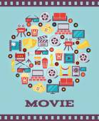 I Love Movies Concept Graphic Designs — Stock Vector
