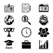 Vector Black Silhouette Business Icons Set — Stock Vector
