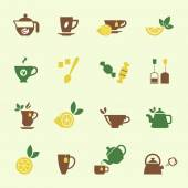 Attractive Tea Time Icon Set Designs — Stock Vector