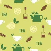 Tea Time Concept in Seamless Pattern — Stock Vector