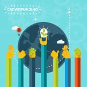 Creative World Crowd Funding Concept Design — Stock Vector