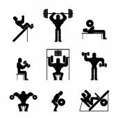 Bodybuilding and Weightlifting Icons — Stock Vector