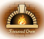 Firewood oven logo or badge — Stock Vector