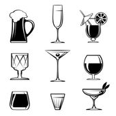 Silhouette Beverage Glass Icons on White — Stock Vector