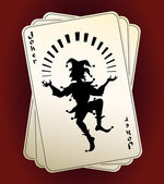 Joker silhouette on playing cards — Stock Vector