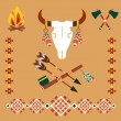 Ethnic ornament with bull skull and arrows — Stock Vector #57782667