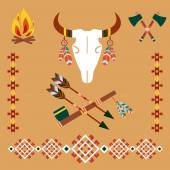 Ethnic ornament with bull skull and arrows — Stock Vector