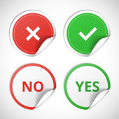Yes and no stickers — Stock Vector