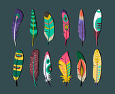 Attractive Feathers Icon Set Designs — Stock Vector