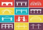 Modern bro ikoner på färgstarka bakgrund modeller — Stockvektor