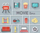 Conceptual Movie Time Graphic Design — Stock Vector