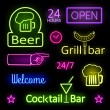 Glowing Neon Lights Bar Signs on Black Background — Stock Vector #58882091
