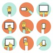 Hands Holding Touch Screen Devices Icons — Stock Vector #58882349