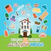 Designer  house illustration — Stock Vector
