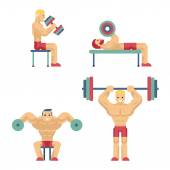 Bodybuilding and Weightlifting Icons in Flat Style — Stock Vector