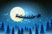 Christmas background with Santa driving his sleigh — Stock Vector