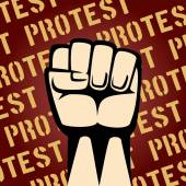 Fist Up Protest Poster — Stock Vector