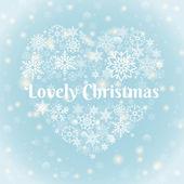 Lovely Christmas Texts on Heart Shape Snowflakes — Stock Vector
